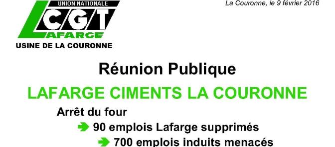 Réunion Publique – LAFARGE CIMENTS LA COURONNE