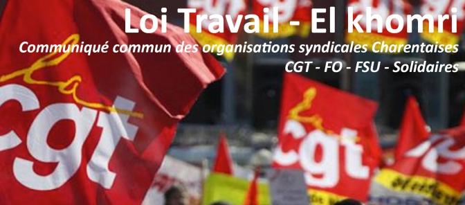 Retrait du Projet de Loi El Khomri, Communiqué commun CGT, FO, FSU, SOLIDAIRES