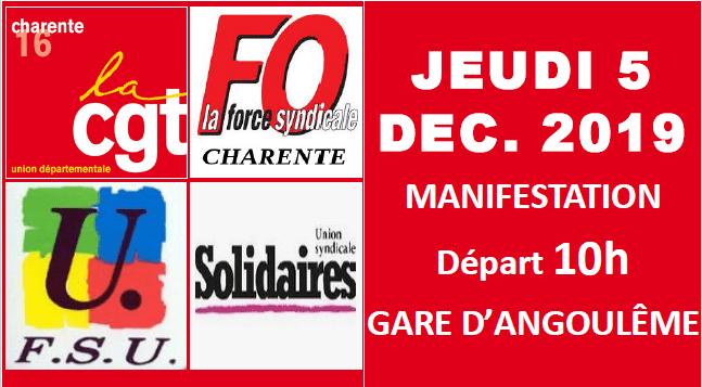 COMMUNIQUÉ DE L'UNION LOCALE CGT DE LA CHARENTE LIMOUSINE : APPEL A MANIFESTER LE 05 DÉCEMBRE 2019 !