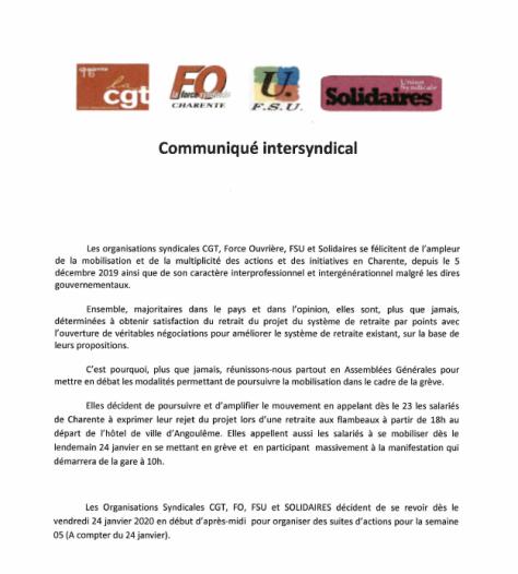 Capture communiqué intersyndical