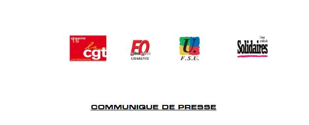 COMMUNIQUÉ DE L'INTERSYNDICALE DE LA CHARENTE DU 30.01.2020