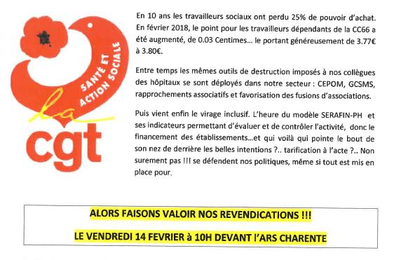 ACTION DE LA CGT SANTÉ & ACTION SOCIALE : VENDREDI 14-02-20 A 10H DEVANT L'ARS CHARENTE
